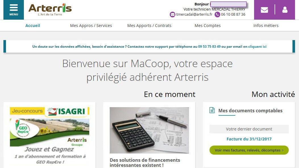 Page accueil MaCoop